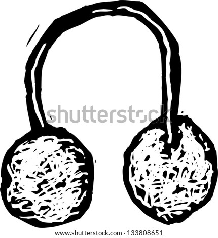 Black and white vector illustration of ear muffs