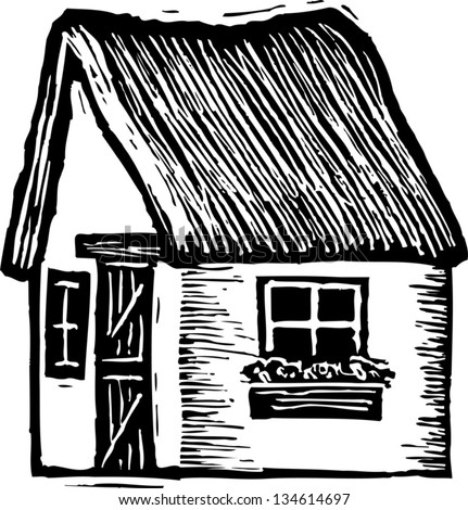 Black And White Vector Illustration Of English Thatched Roof Cottage