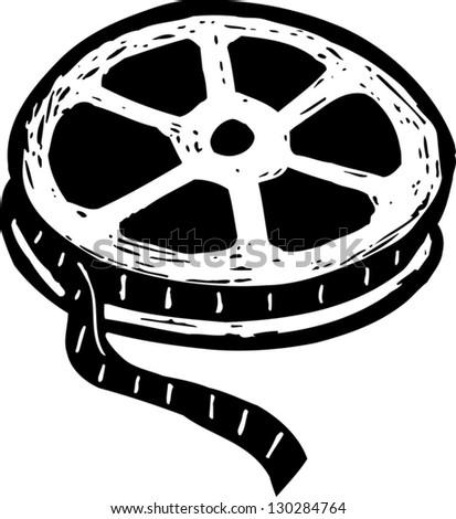black white vector illustration film reel stock vector