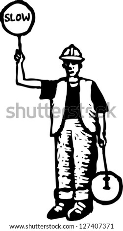 Black and white vector illustration of flagman road worker