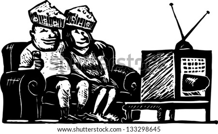 Black and white vector illustration of funny couple watching TV