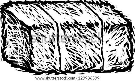 Black and white vector illustration of hay bale - stock vector