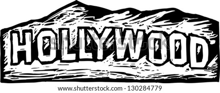 Black and white vector illustration of Hollywood sign - stock vector