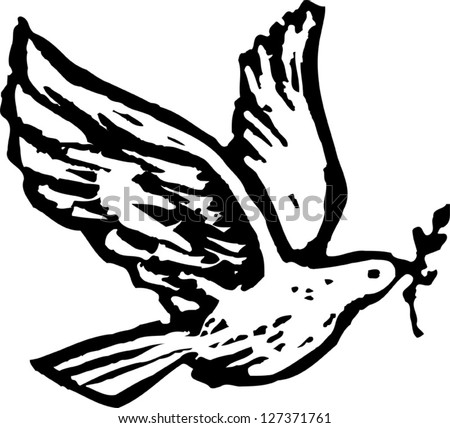 Black and white vector illustration of Holy Spirit dove with olive branch - stock vector