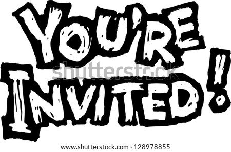 Black and white vector illustration of invitation
