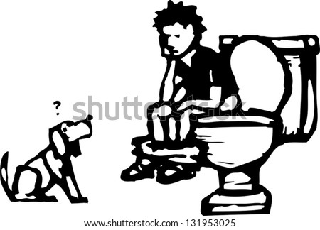 Black and white vector illustration of little boy sitting on the toilet