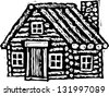 Black and white vector illustration of log cabin - stock photo