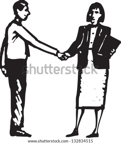 Black and white vector illustration of man and woman shaking hands