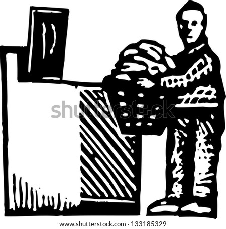 Black and white vector illustration of man doing laundry