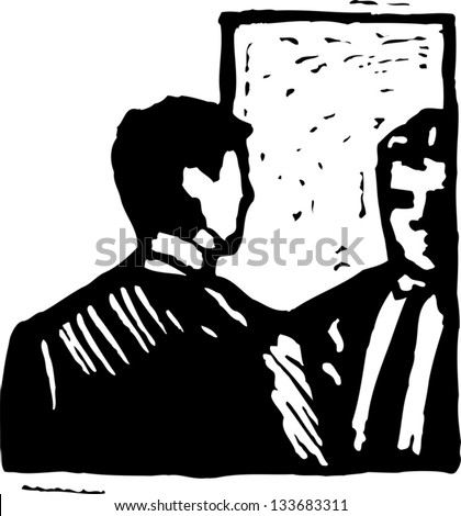 Black and white vector illustration of man looking in the mirror - stock vector