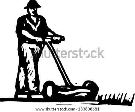 Black and white vector illustration of man mowing lawn