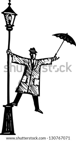 Black and white vector illustration of man singing in the rain