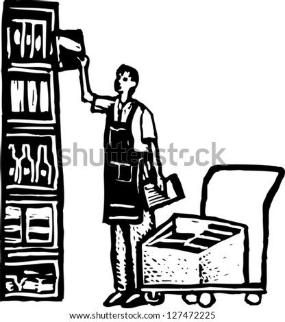 Black and white vector illustration of man stocking grocery shelves with groceries