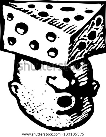 Black and white vector illustration of man with cheese on his head - stock vector