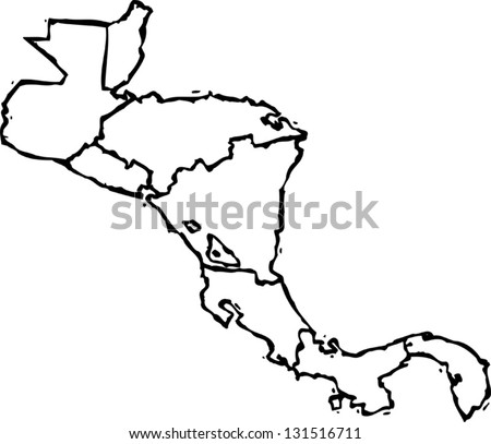 Black and white vector illustration of map of Central America - stock vector