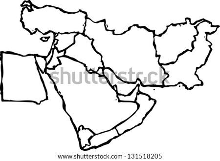 Black and white vector illustration of map of Middle East - stock vector