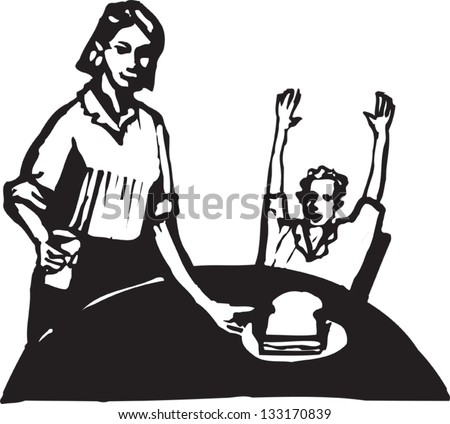 Black and white vector illustration of mother giving son a sandwich for lunch