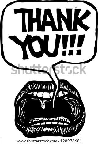 Black and white vector illustration of mouth saying Thank you