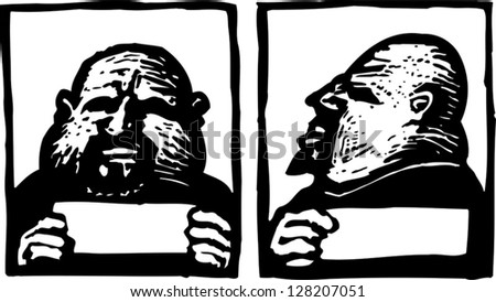 Black and white vector illustration of mug shot - stock vector
