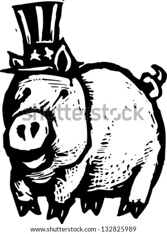 Black and white vector illustration of pig wearing uncle Sam's hat