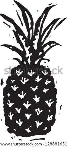 Black and white vector illustration of pineapple - stock vector