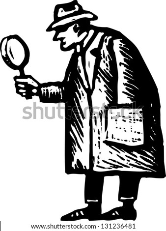 Black and white vector illustration of police detective holding a magnifying glass