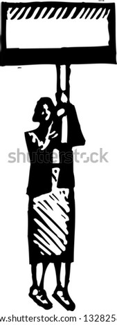 Black and white vector illustration of political campaigner