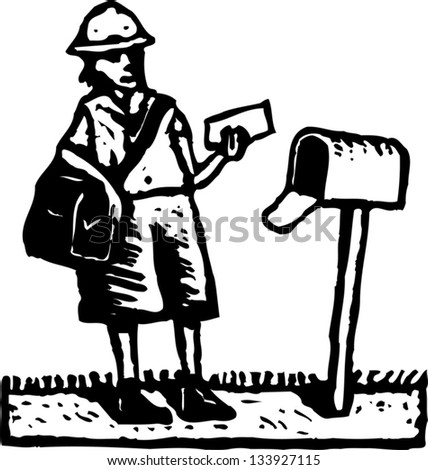 Black and white vector illustration of postal delivery person delivering mail