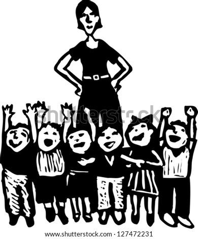 Black and white vector illustration of preschool teacher and class of children - stock vector