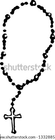 Black and white vector illustration of rosary - stock vector