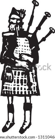 Black and white vector illustration of Scottish man in kilt playing bagpipe - stock vector