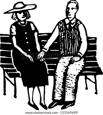 Black and white vector illustration of senior couple holding hands on bench in park