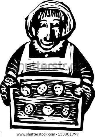 Black and white vector illustration of senior woman baking cookies