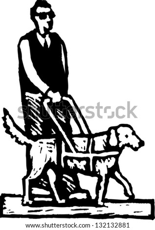 Black and white vector illustration of sight disabled man with guiding dog