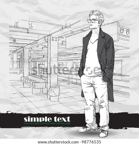 Black and white vector illustration of stylish guy at  subway station.  Place for your text. - stock vector