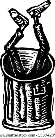 Black and white vector illustration of teen boy dumped in trash can - stock vector