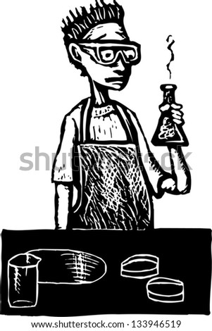Black and white vector illustration of teen boy in high school science lab