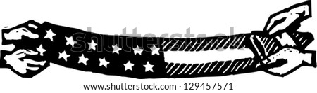Black and white vector illustration of the American flag