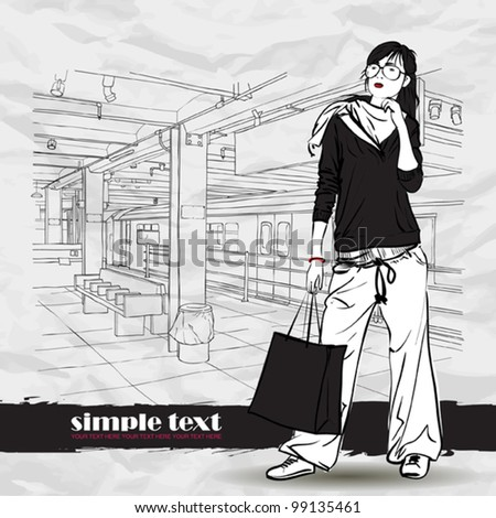 Black and white vector illustration of the pretty girl at  subway station.  Place for your text.