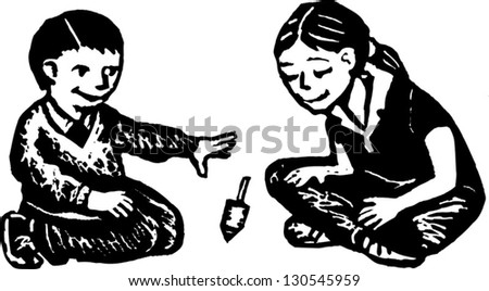 Black and white vector illustration of two children playing