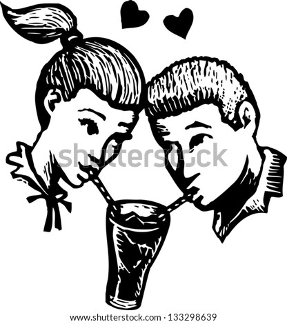 Black and white vector illustration of two teens in love sharing soda