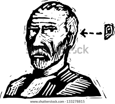 Black and white vector illustration of Vincent Van Gogh - stock vector