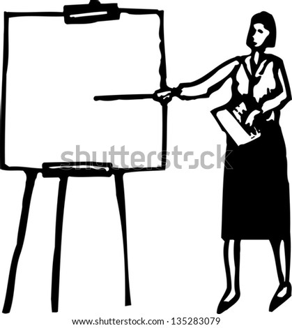 Black and white vector illustration of Woman Making Business Presentation