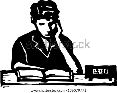 Black and white vector illustration of young man studying