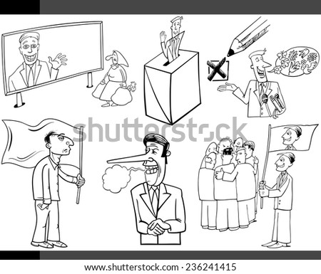 Black and White Vector Illustration Set of Humorous Cartoon Concepts or and Metaphors of Politics and Democracy - stock vector