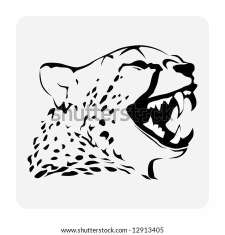 Black and white vector image of a spotted panther (leopard).