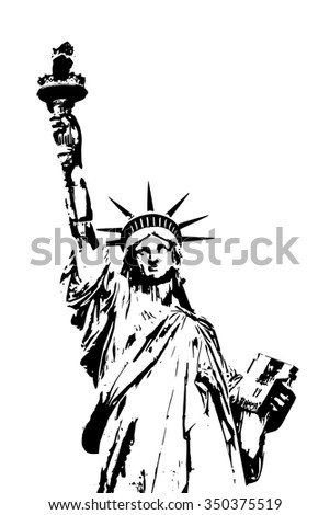 Black and white vector Lady Liberty isolated on white background.