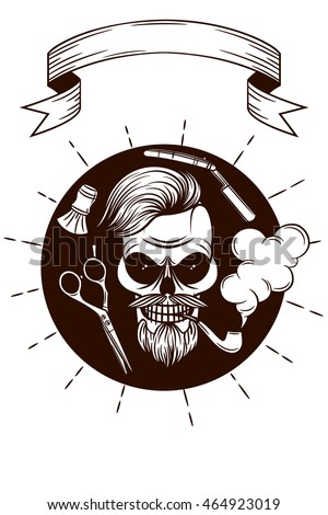Black and white Vector logo for men's barber shop in hipster style. Skull in hipster style. Set of vector objects for burber shop. Logo, sticker, print for men's barber shop.