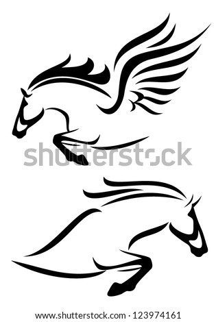 black and white vector outlines of jumping horse and pegasus - stock vector