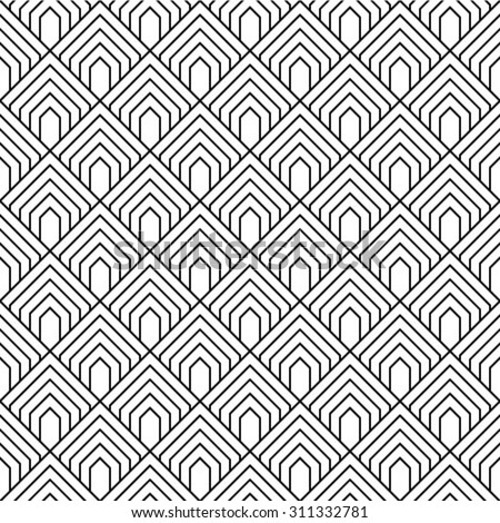 Black and white, vector pattern - stock vector